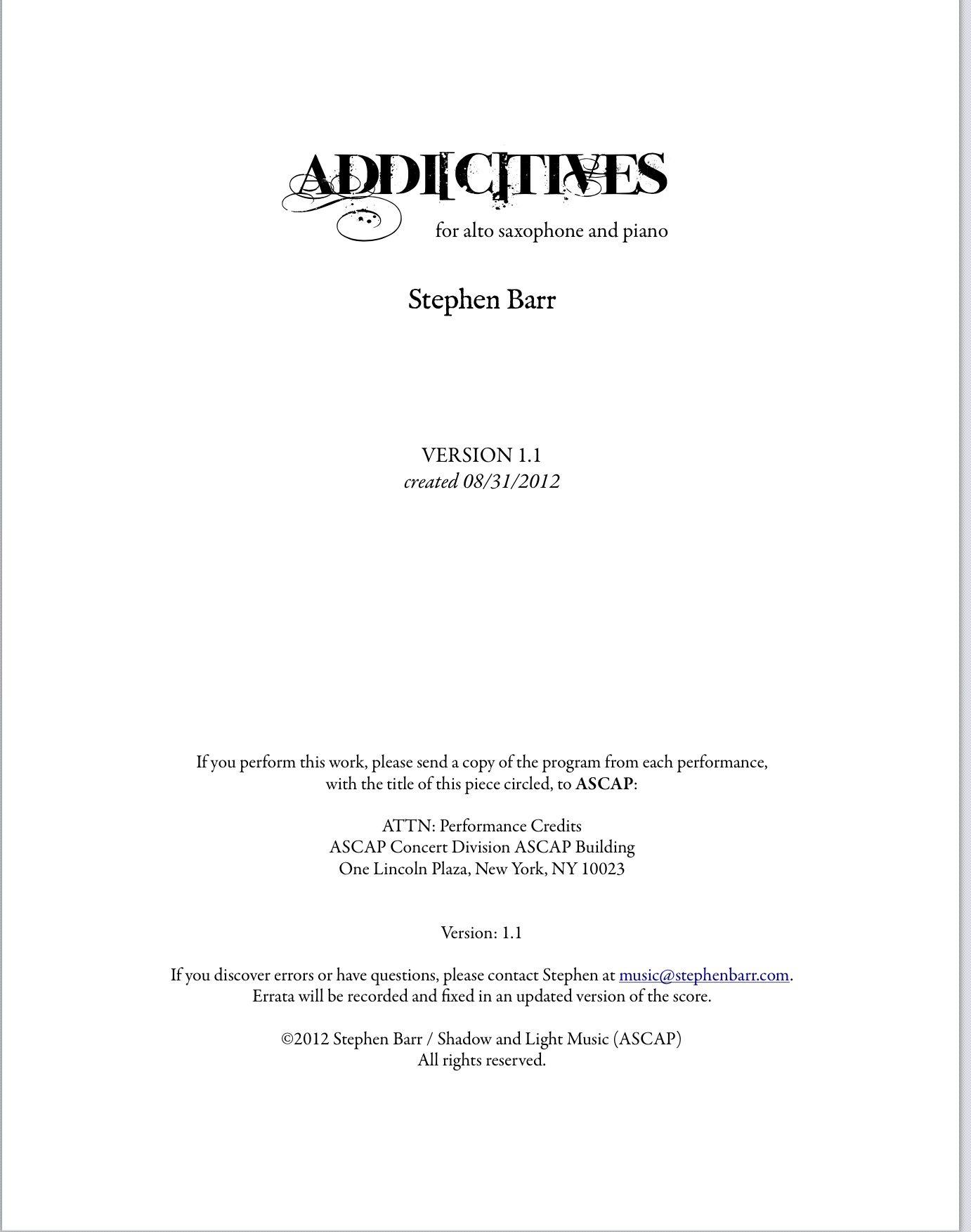 Addictives by Stephen Barr