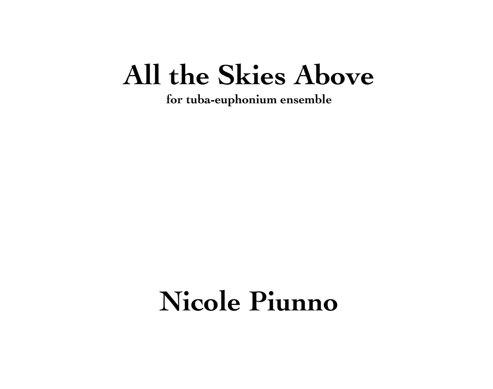 All The Skies Above (Tuba/Euph Version) by Nicole Piunno