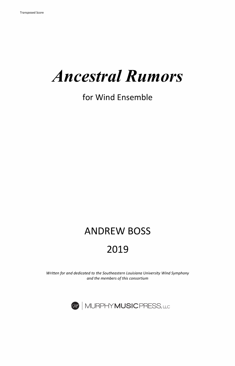 Ancestral Rumors (Score Only) by Andrew Boss