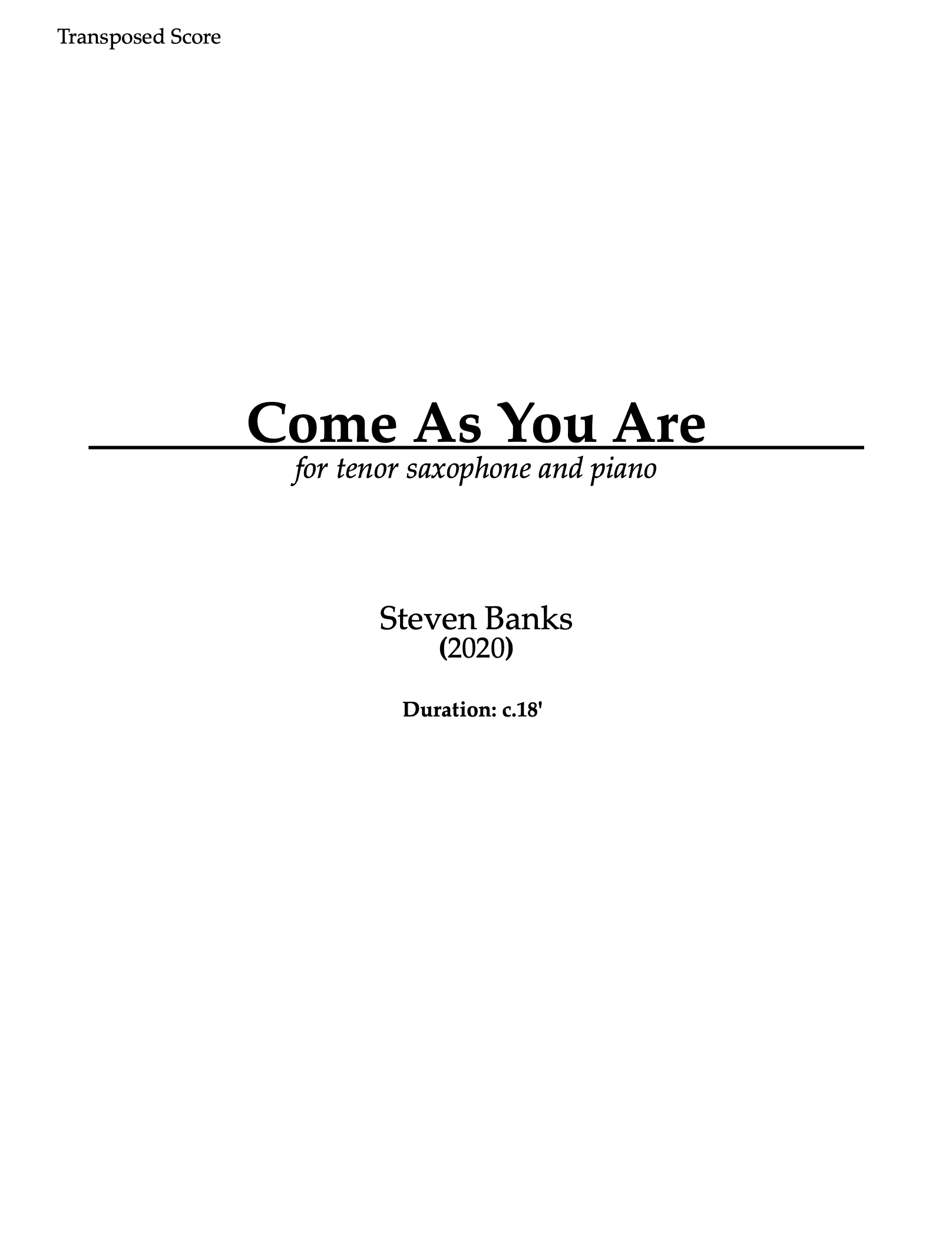 Come As You Are by Steven Banks