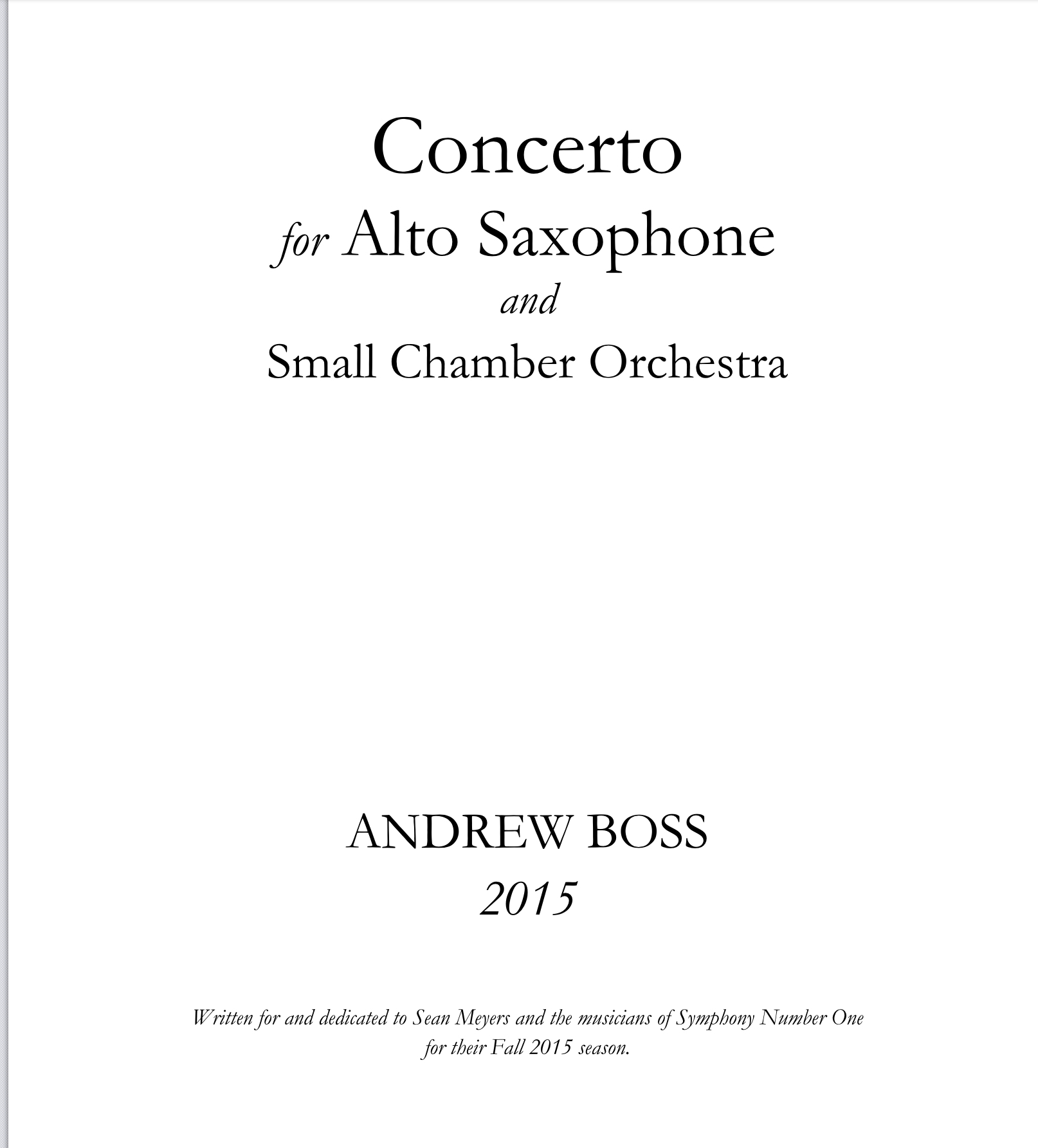 Concerto For Alto Saxophone-Piano Reduction  by Andrew Boss