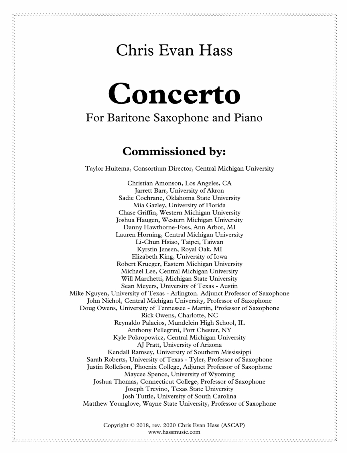 Concerto For Baritone Saxophone And String Orchestra (Piano Reduction) by Chris Evan Hass