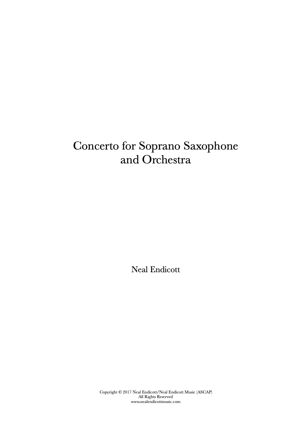 Concerto For Soprano Saxophone And Orchestra by Neal Endicott
