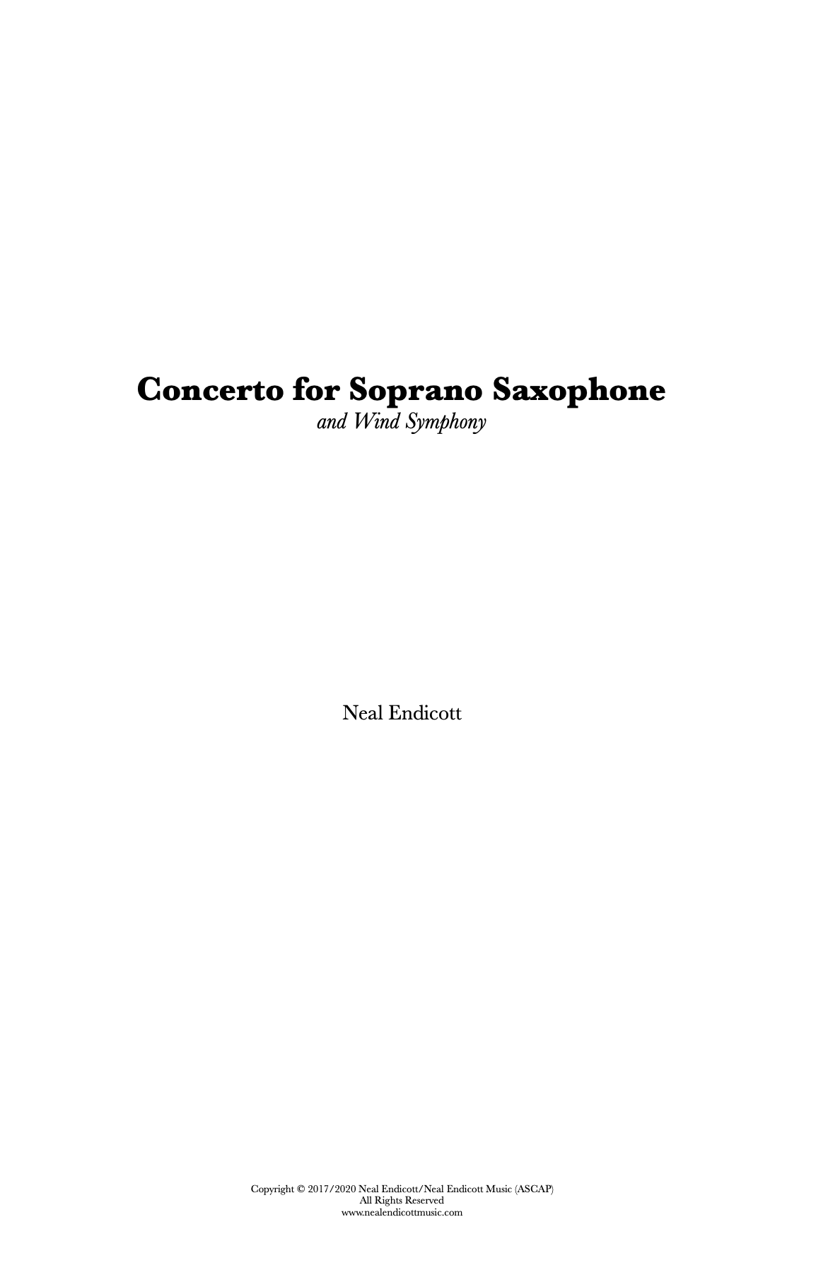 Concerto For Soprano Saxophone And Wind Symphony by Neal Endicott