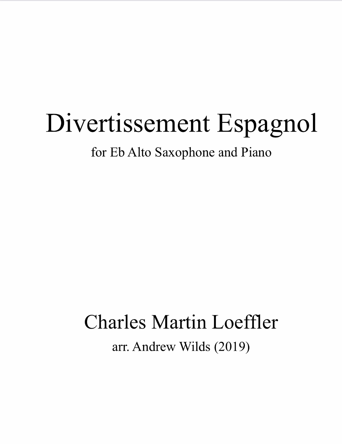 Divertissement Espagnol by arr. Andy Wilds