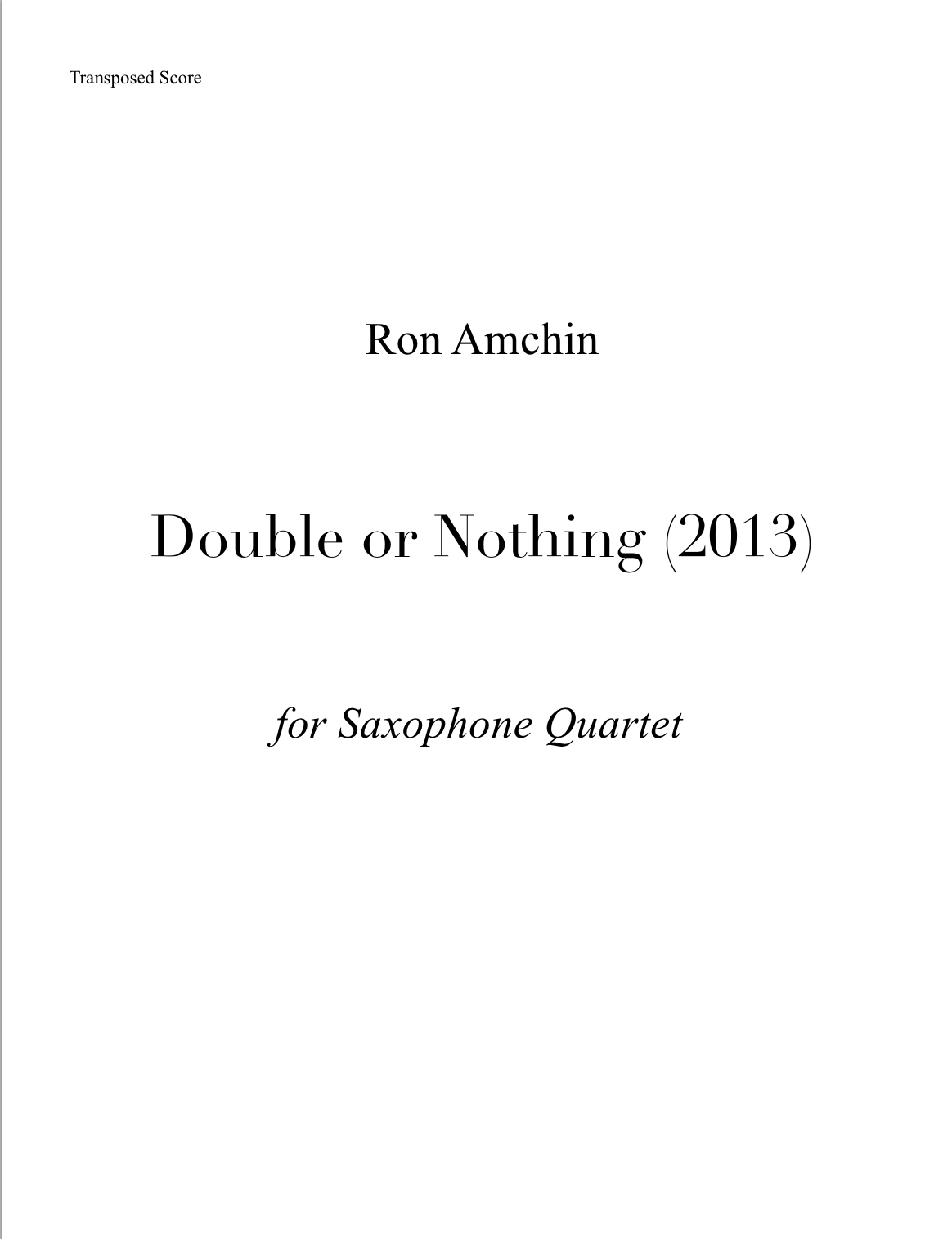 Double Or Nothing by Ron Amchin
