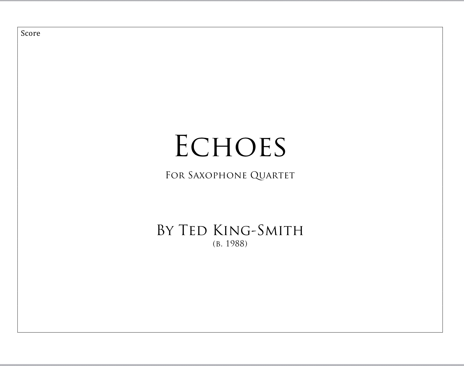 Echoes by Ted King-Smith