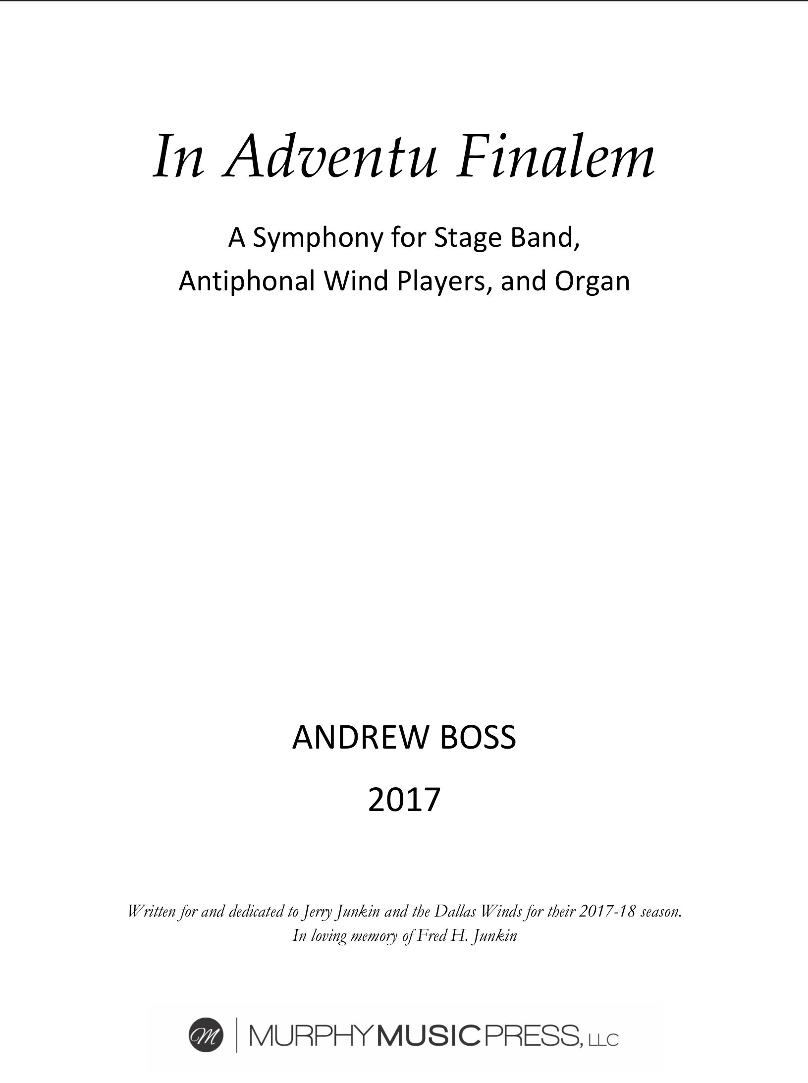 In Adventu Finalem (Study Score Only) by Andrew Boss