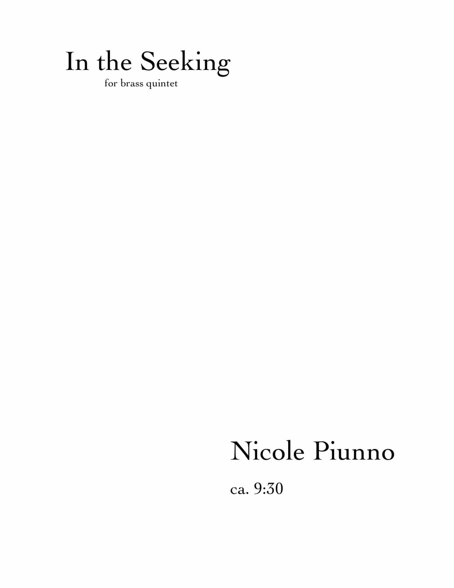 In The Seeking by Nicole Piunno