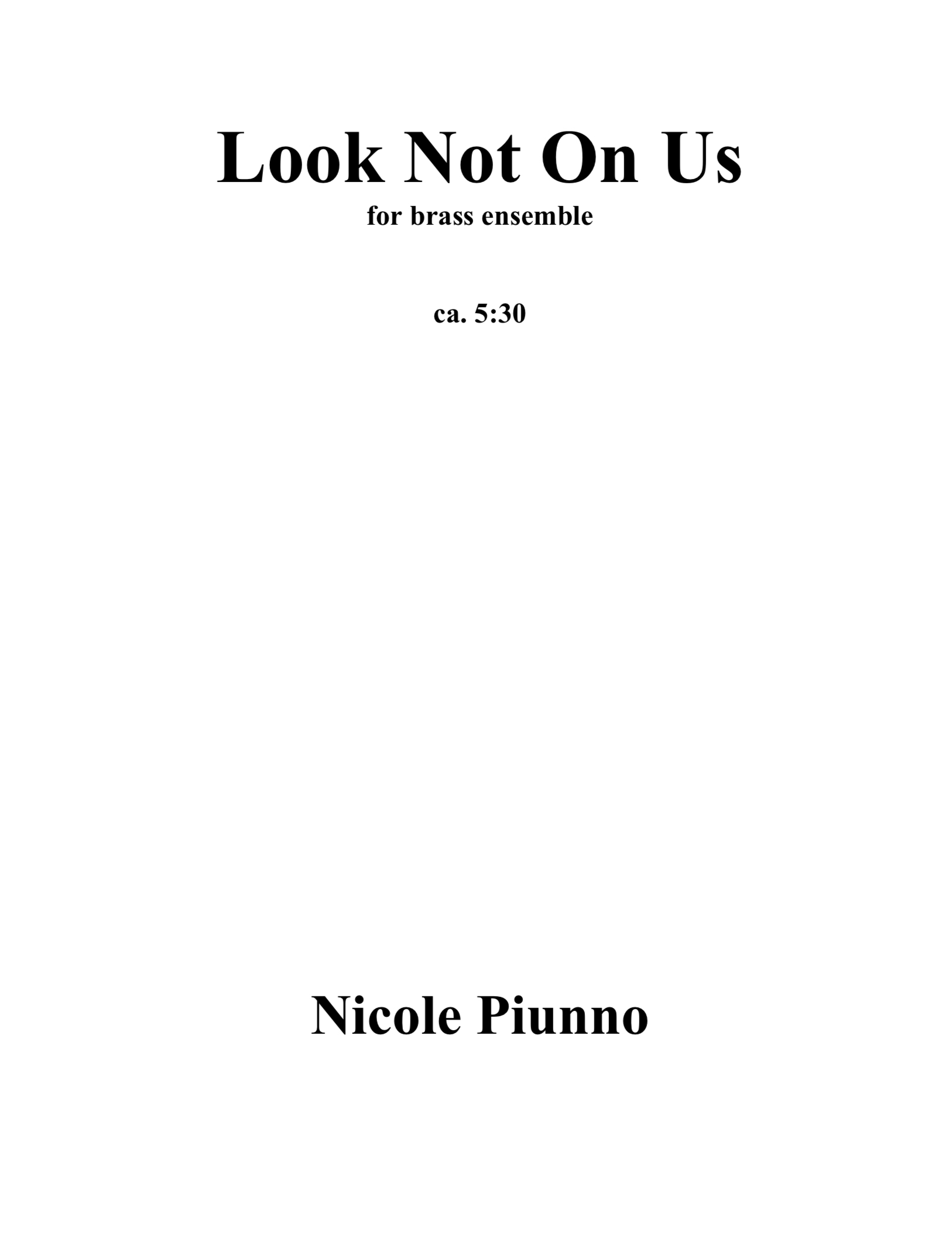 Look Not On Us by Nicole Piunno