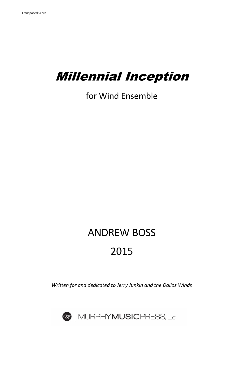Millennial Inception (score Only) by Andrew Boss