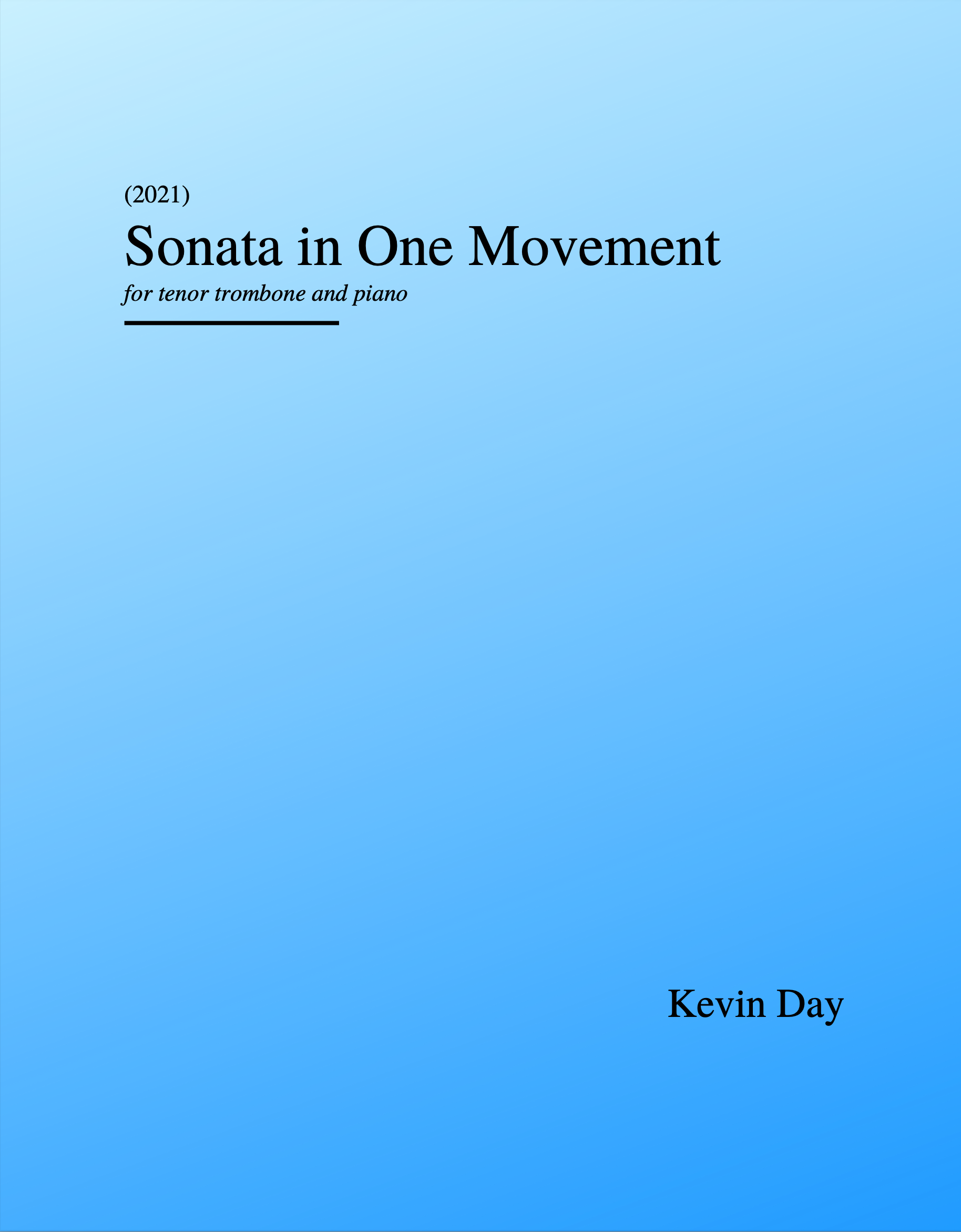 Sonata In One Movement (PDF Version)  by Kevin Day