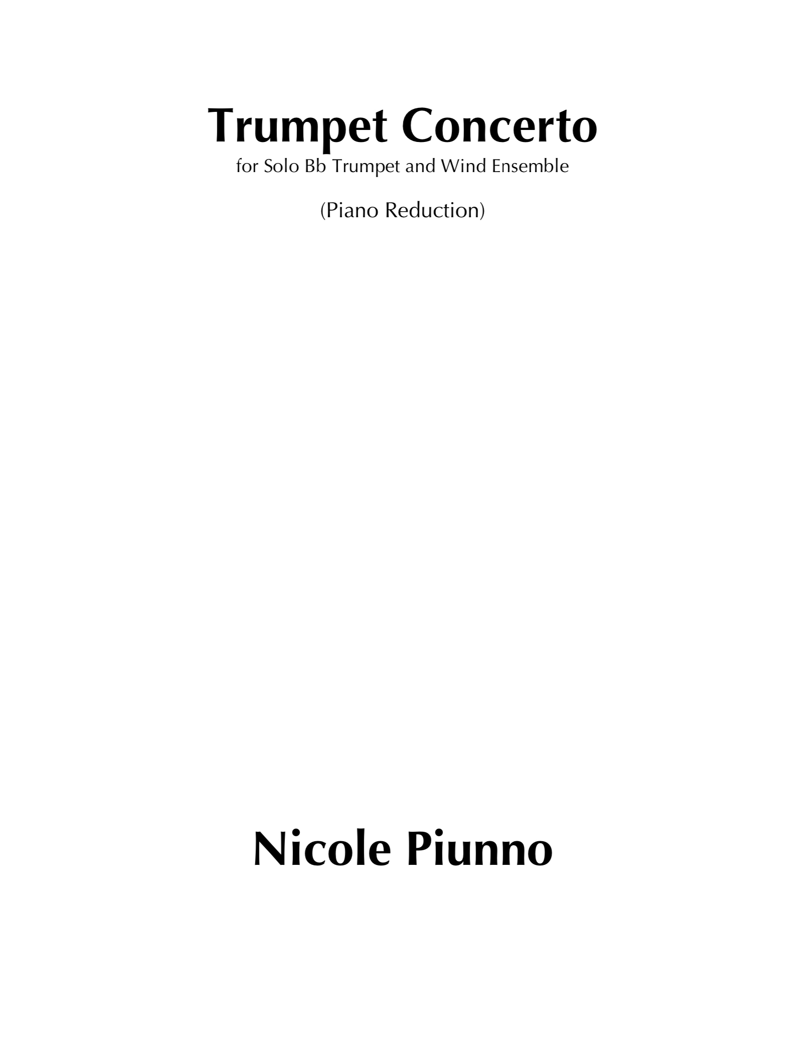 Trumpet Concerto-Piano Reduction by Nicole Piunno