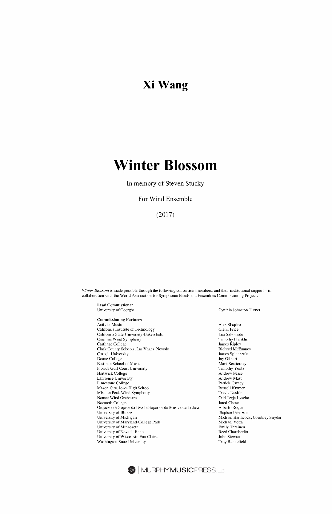 Winter Blossom (Parts Rental Only) by Xi Wang